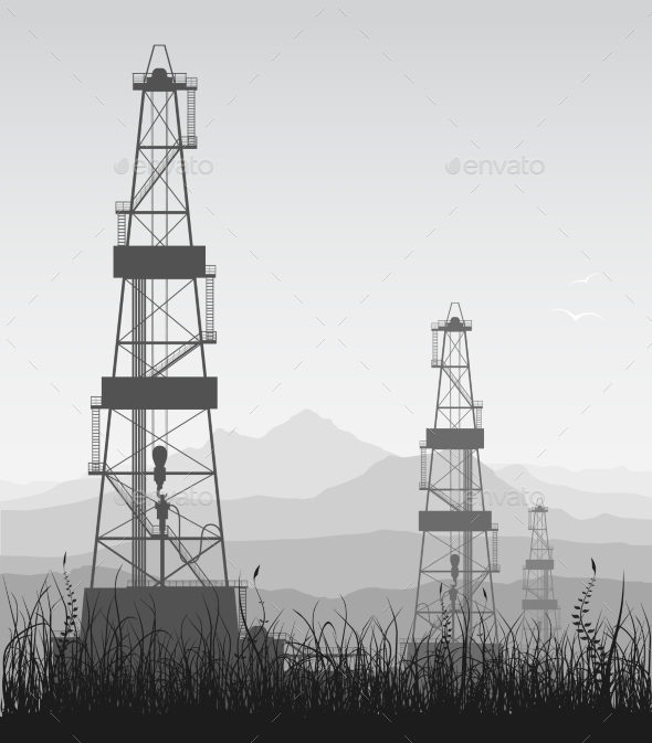 Landscape with Oil Rigs over Mountain Range - Industries Business