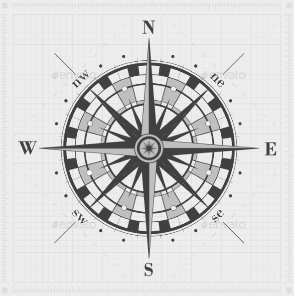 Compass Rose over Grid - Travel Conceptual