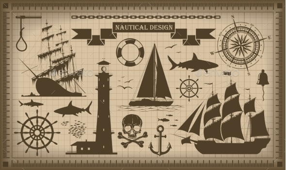 Set of Nautical Design Elements - Travel Conceptual