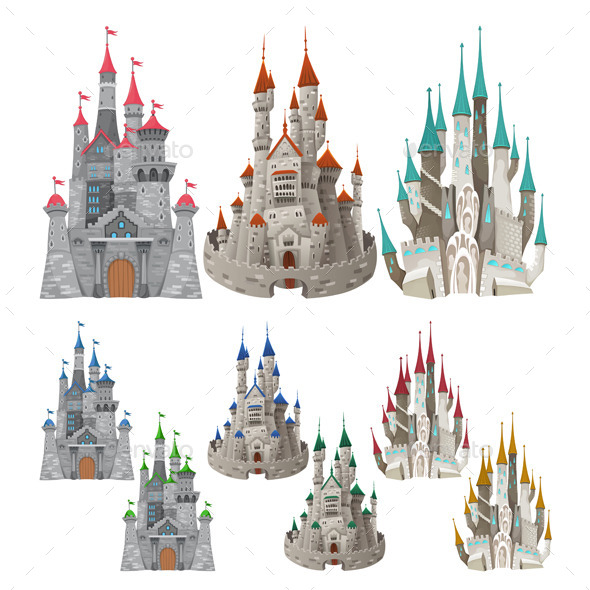 Set of Medieval Castles in Different Colors - Buildings Objects