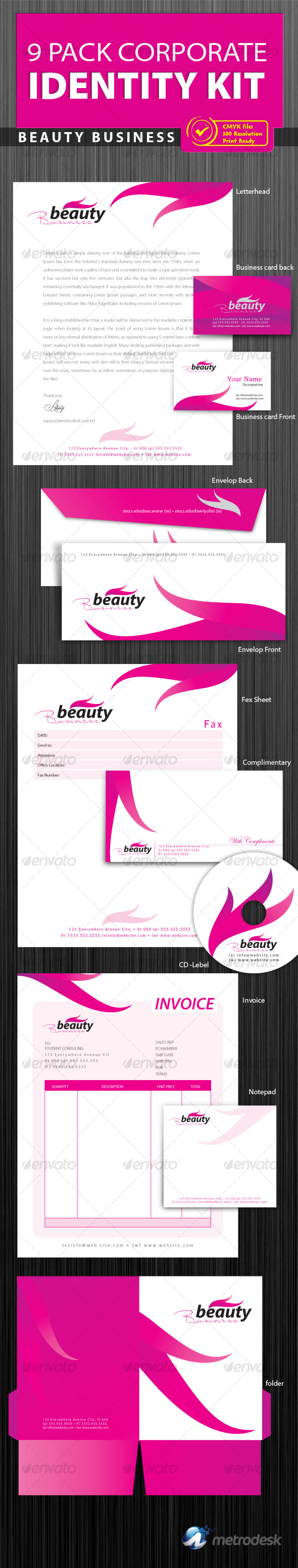 Corporate Identity 9 pack [Print Ready] - Stationery Print Templates