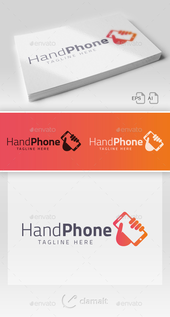 Hand Phone Logo - Objects Logo Templates