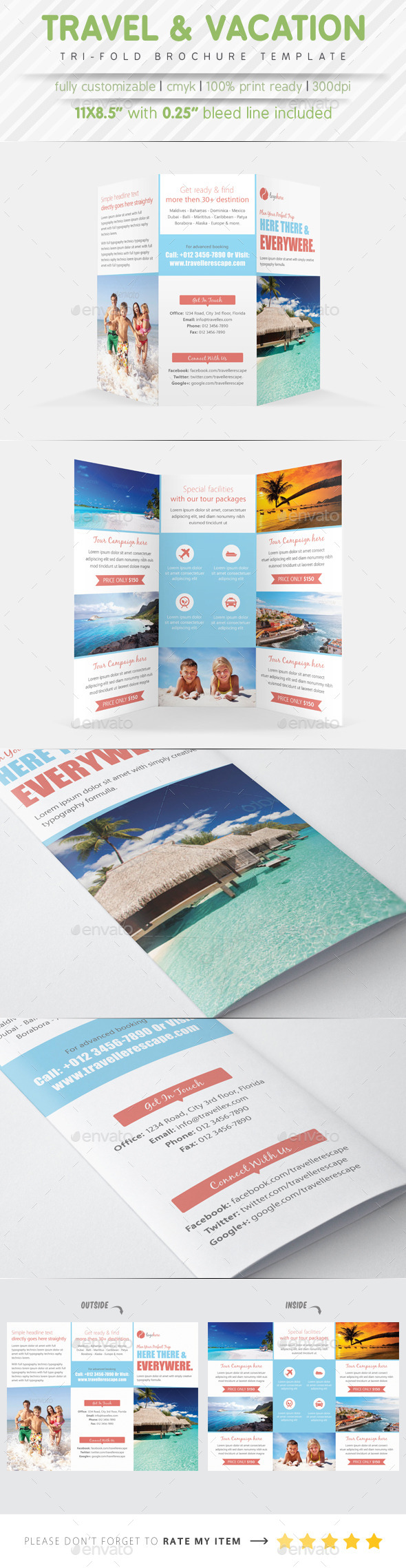 Travel Agency Tri Fold Brochure - Brochures Print Templates