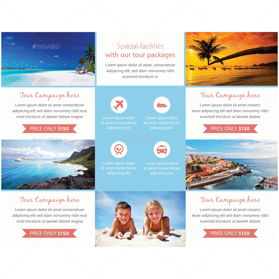 Travel agency tri fold brochure by samiul75 graphicriver for Tour brochure template