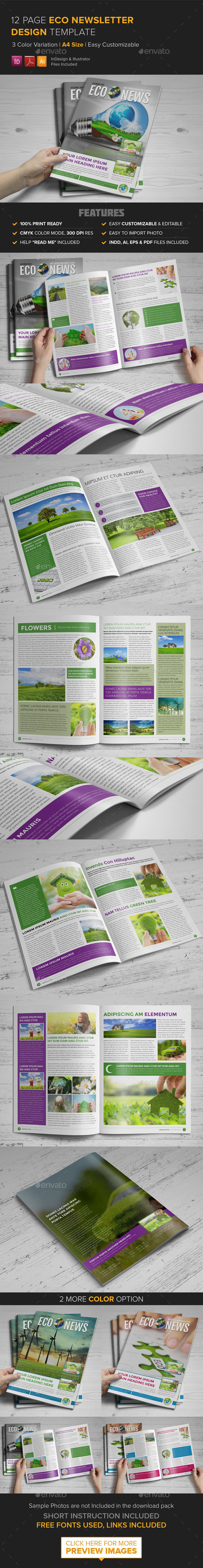 12 Page Eco Newsletter Template - InDesign - Newsletters Print Templates