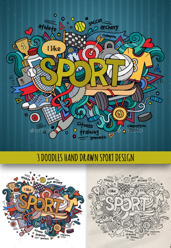 3 Sport Doodles Designs - Sports/Activity Conceptual