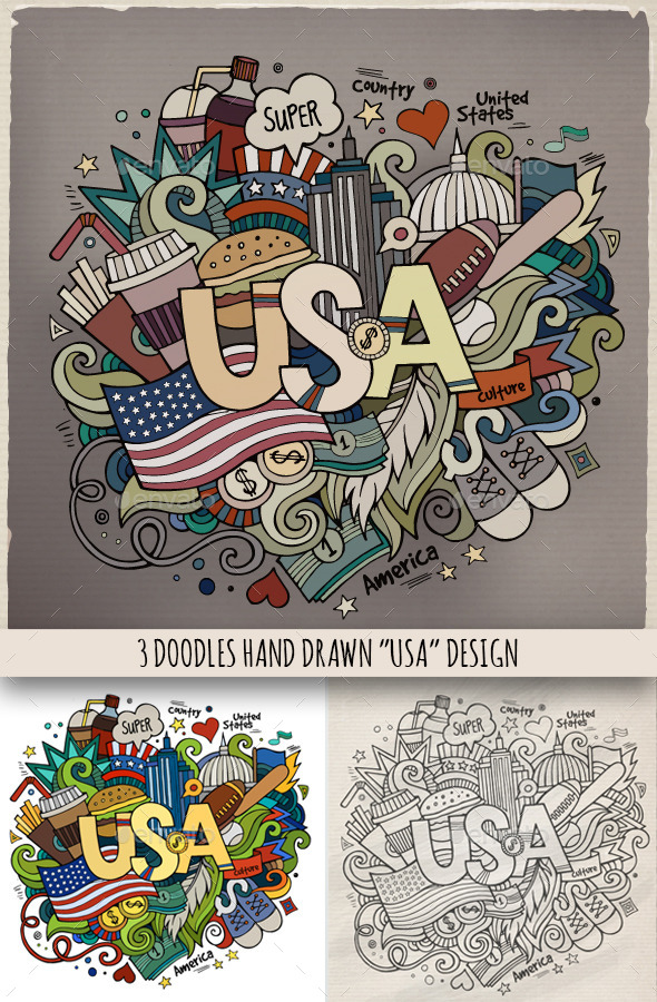 USA Doodles Designs - Travel Conceptual
