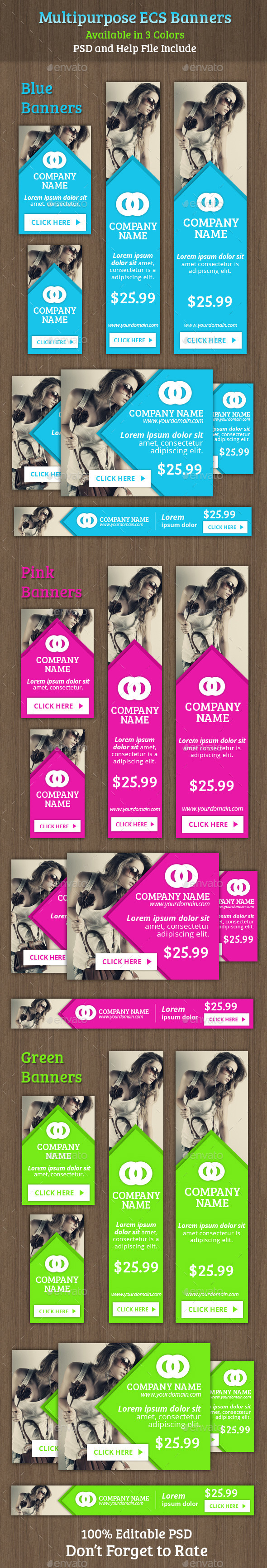 Multipurpose ECS Banners - Banners & Ads Web Elements