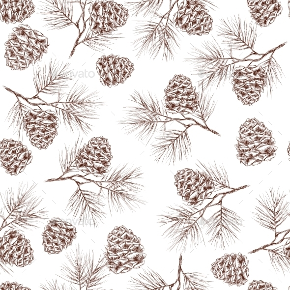 Pine Branches Seamless Pattern - Flowers & Plants Nature