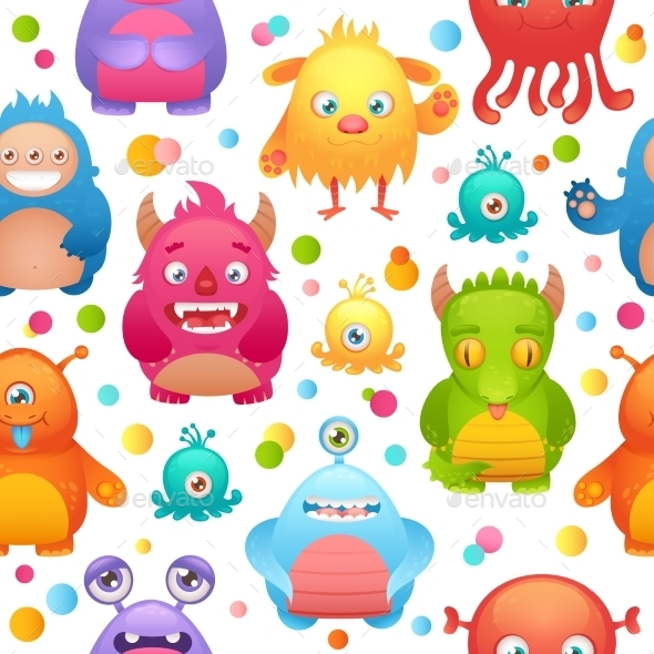 Monsters Seamless Pattern - Backgrounds Decorative