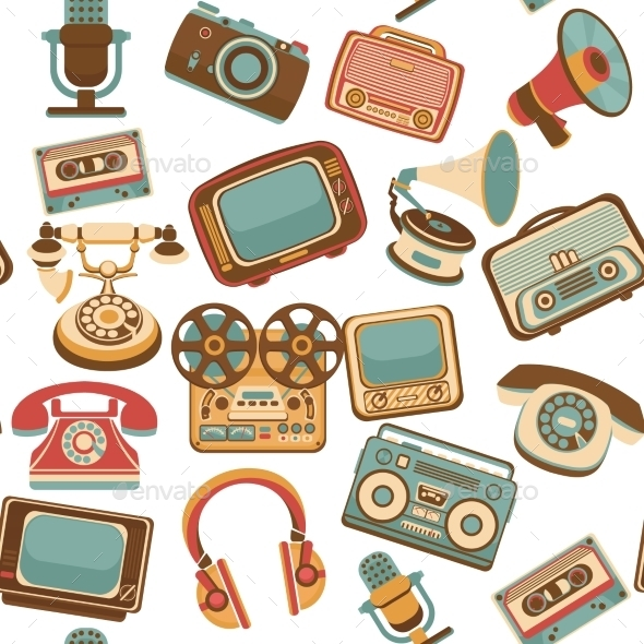 Retro Media Seamless Pattern - Backgrounds Decorative