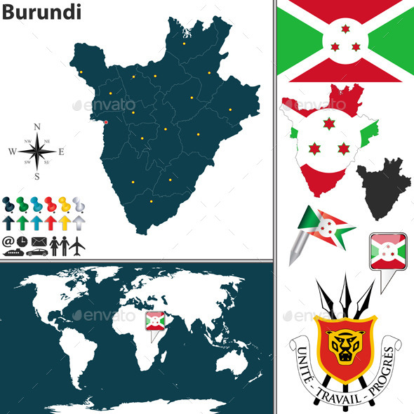Map of Burundi - Travel Conceptual