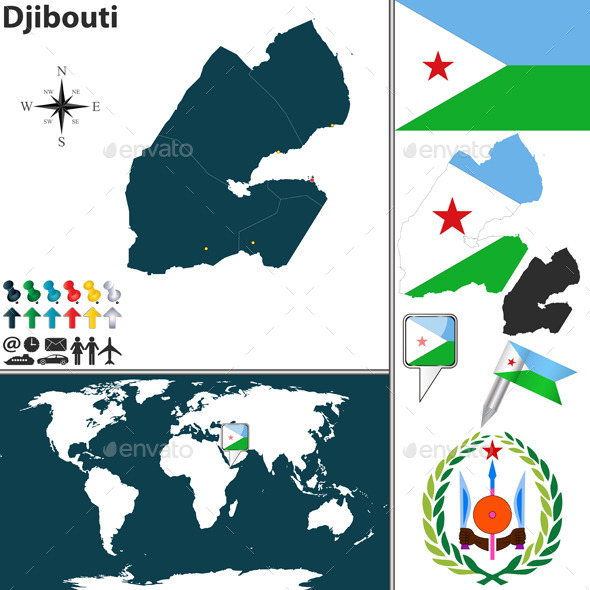Map of Djibouti - Travel Conceptual