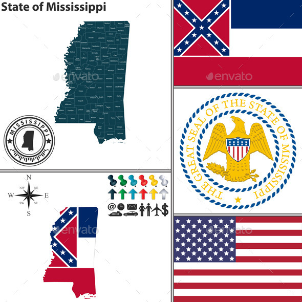 Map of State Mississippi, USA - Travel Conceptual