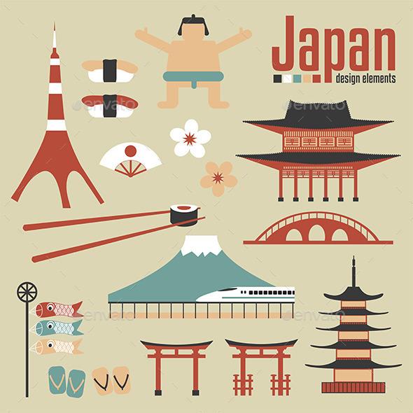 Japan Design Elements - Decorative Symbols Decorative