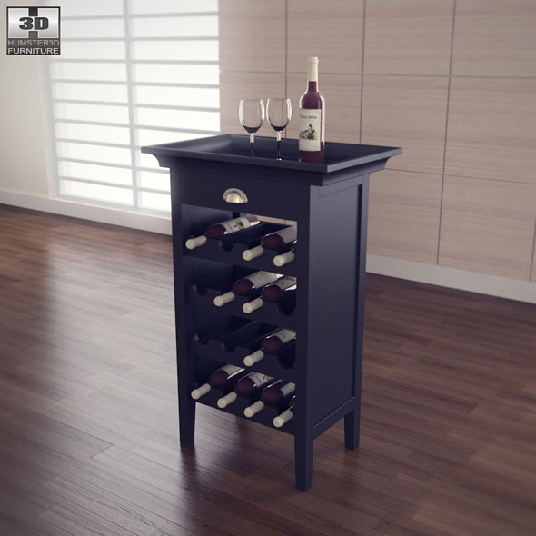 Black Wine Cabinet Powell Furniture By Humster3d 3docean