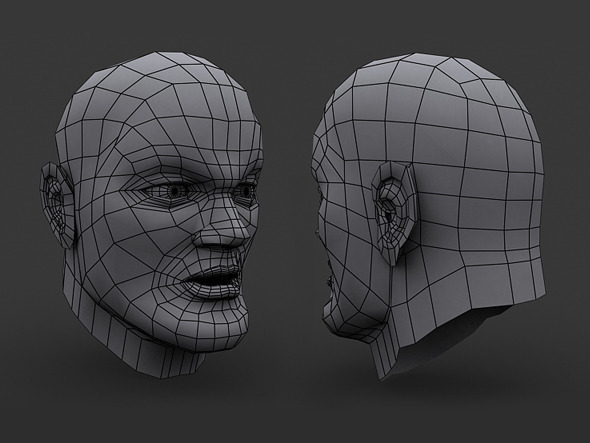 Human Comic Male Head Base Mesh - 3DOcean Item for Sale