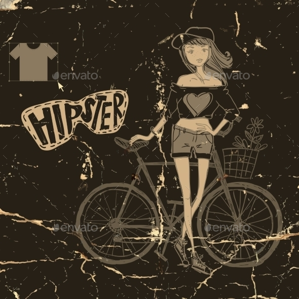 Hipster Teenage Girl On Her Vintage Bike - People Characters
