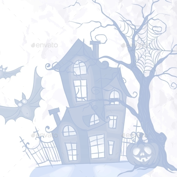 Halloween Monster House With Bat And Pumpkins - Halloween Seasons/Holidays