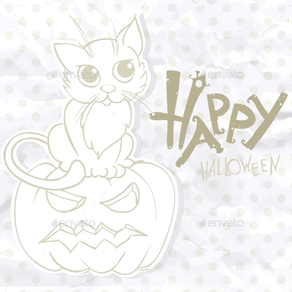 Halloween Background With Pumpkins And Cat - Halloween Seasons/Holidays