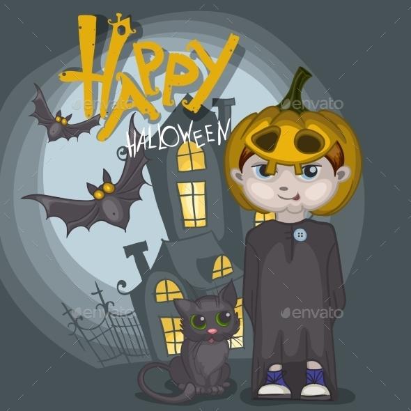 Little Ghost With Pumpkin - Halloween Seasons/Holidays