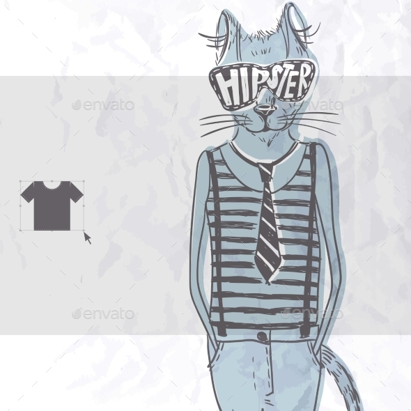 Hand Drawn Fashion Portrait Of Hipster Cat - Animals Characters