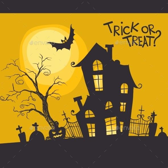 Halloween Monster House With Bat And Pumpkins - Halloween Seasons/Holidays