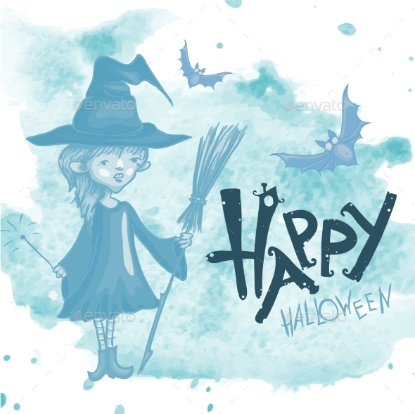 Witch Girl With Bat And Broom - Halloween Seasons/Holidays