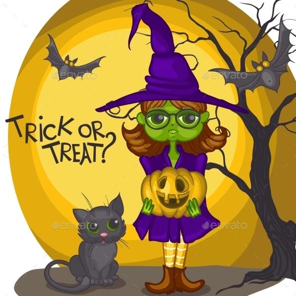 Cartoon Witch Girl With Bat, Broom And Pumpkins - Halloween Seasons/Holidays
