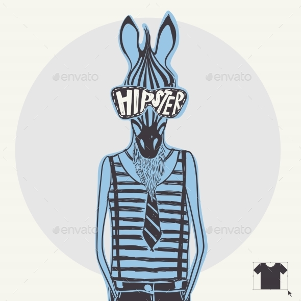 Hand Drawn Fashion Portrait Of Hipster Zebra - Animals Characters