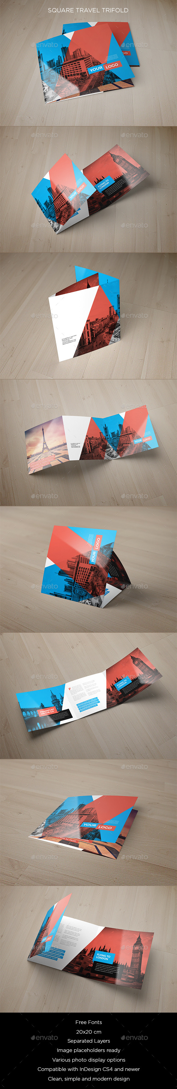 Square Travel Trifold - Brochures Print Templates