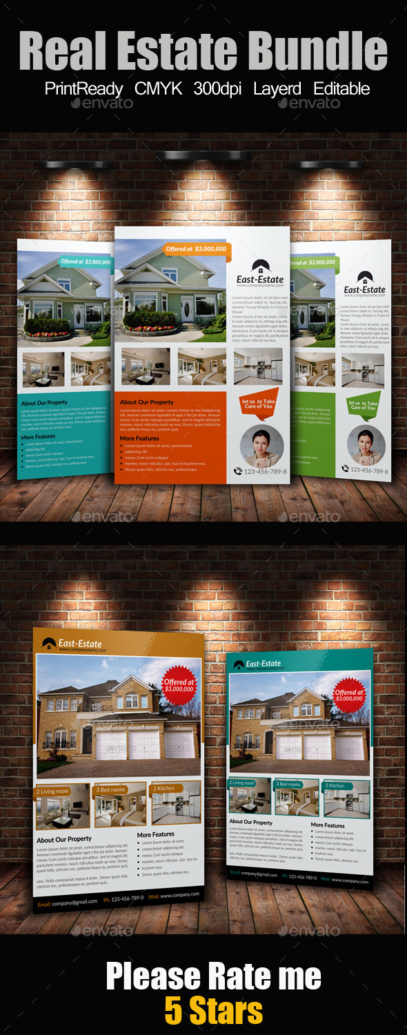 A4 Real Estate Flyers Bundle - Corporate Flyers