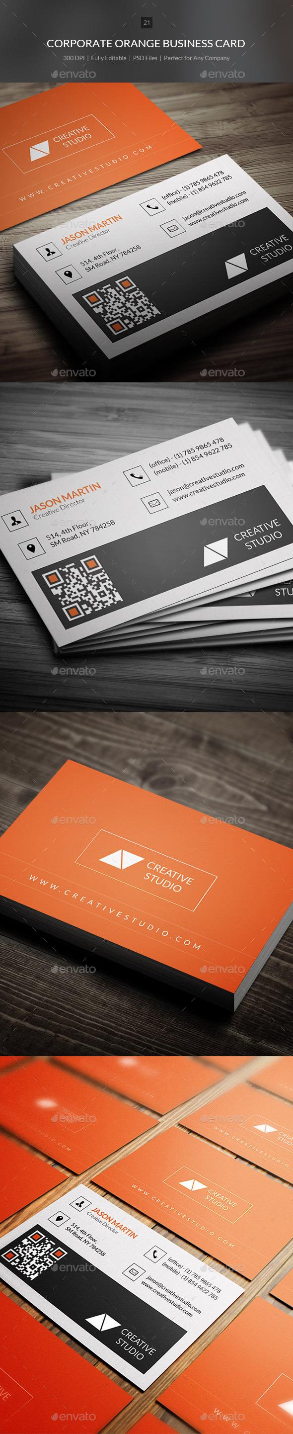 Corporate Orange Business Card - 21 - Corporate Business Cards