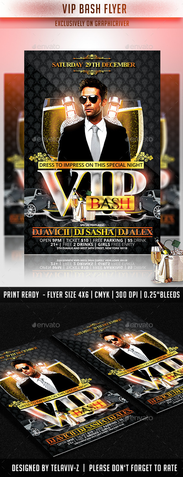 VIP Bash Flyer Template - Flyers Print Templates