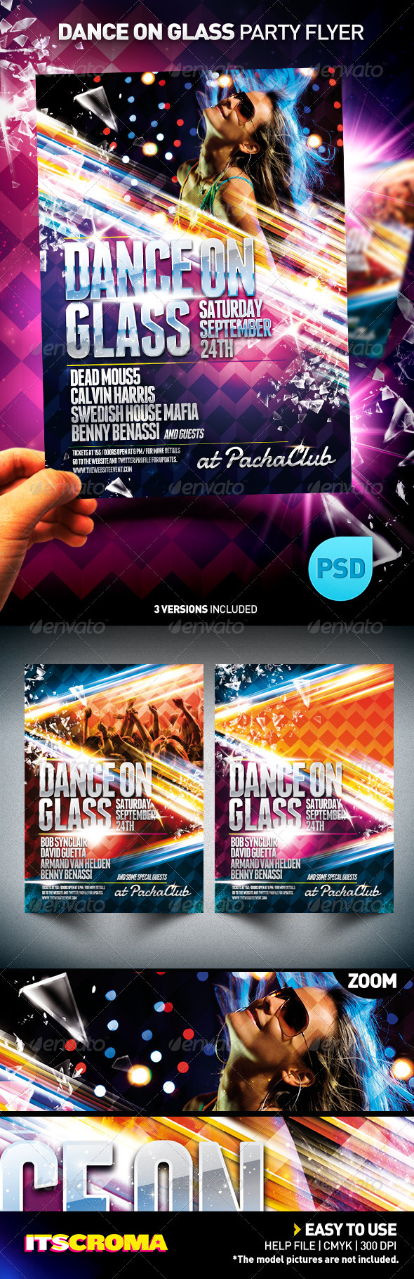 NightClub Party Flyer Template | Dance on Glass  - Clubs & Parties Events