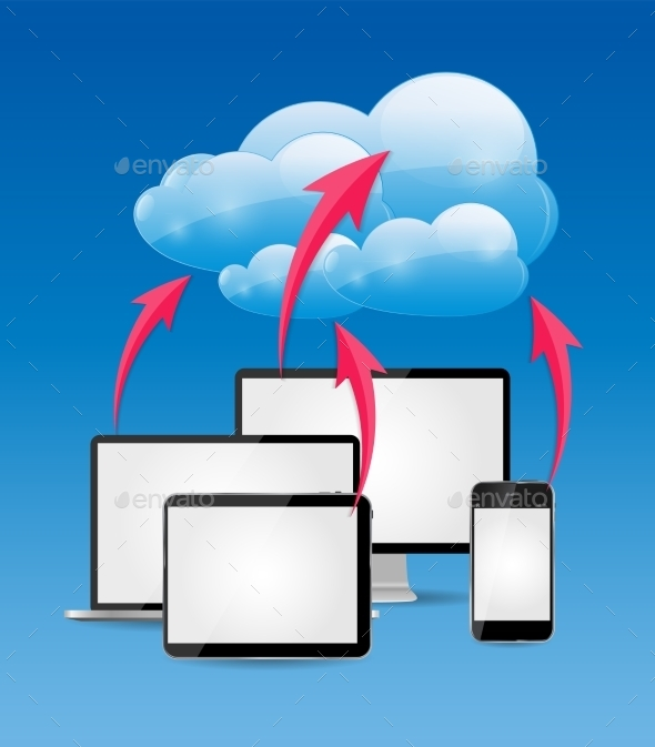 Cloud Computing Business Concept Vector  - Computers Technology