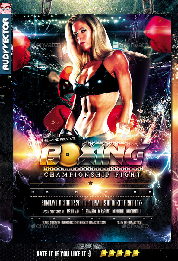 Boxing Championship Fight Night Flyer - Sports Events