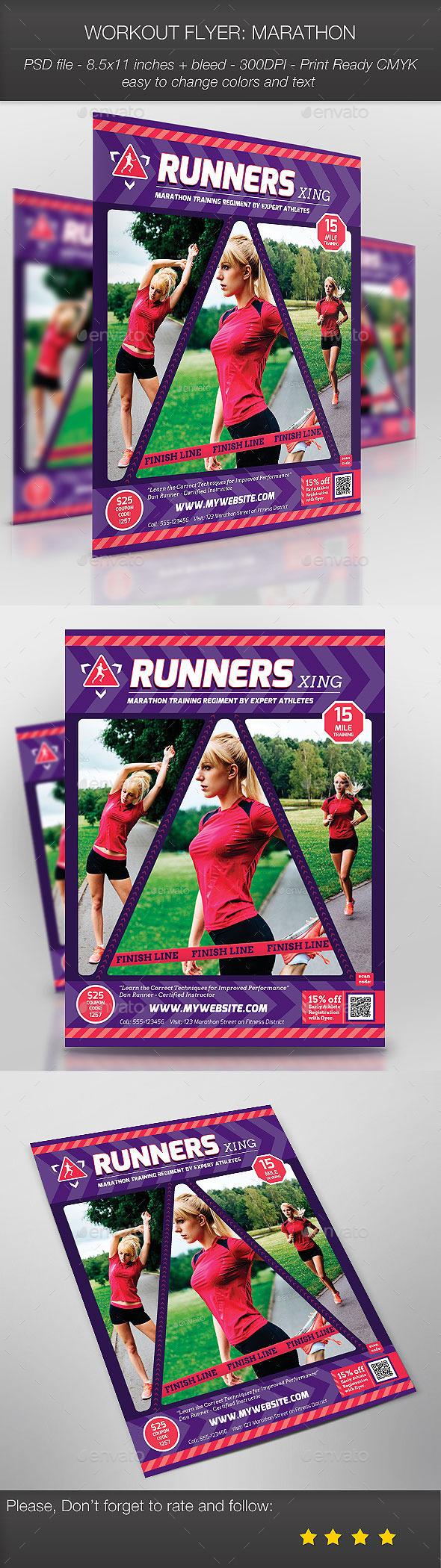 Workout Flyer: Marathon - Sports Events