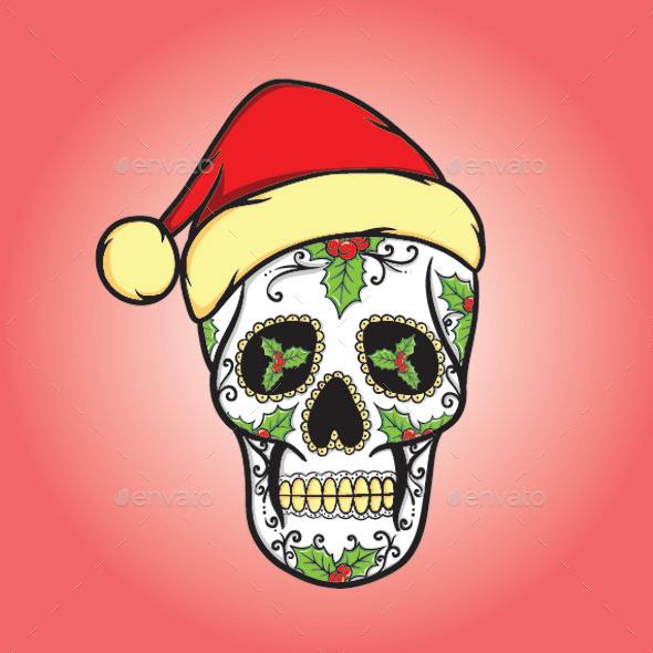 Christmas Skull - Christmas Seasons/Holidays