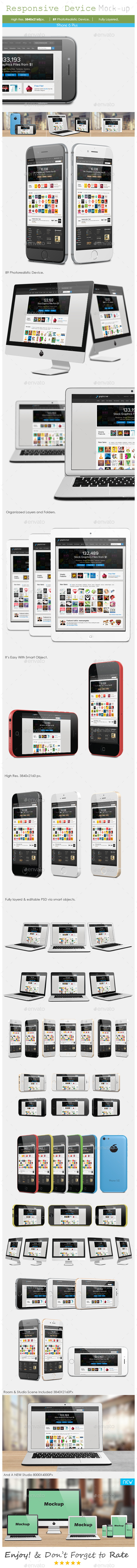 Responsive Screen Mockup - Devices  - Displays Product Mock-Ups