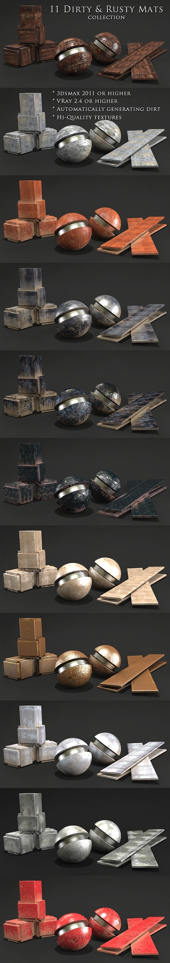 11 Dirty & Rusty mats Collection - 3DOcean Item for Sale