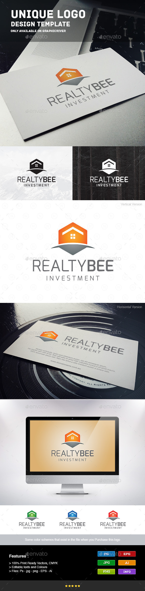 Realty Bee - Buildings Logo Templates