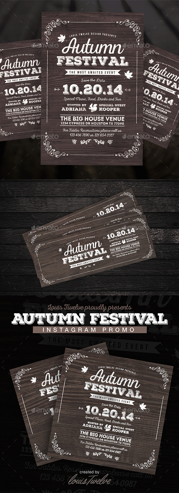 Vintage Autumn Festival Flyer - 3PSD - Holidays Events
