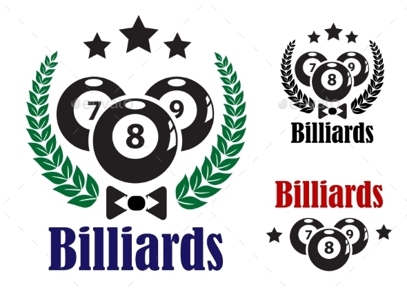 Billiards Badges or Emblems - Sports/Activity Conceptual