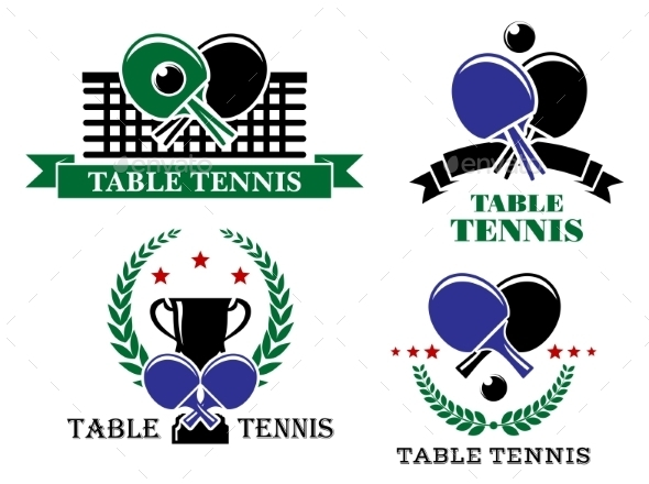 Four Table Tennis Emblems or Badges - Sports/Activity Conceptual