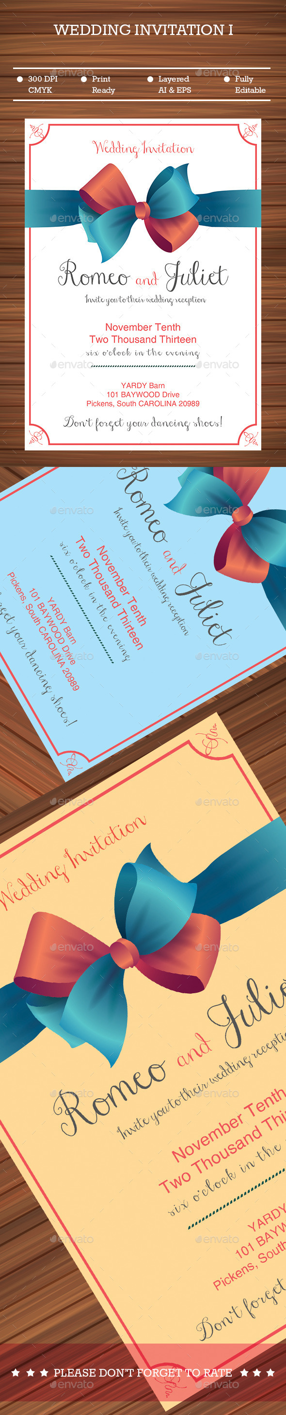 Ribbon Wedding Invitation  - Cards & Invites Print Templates