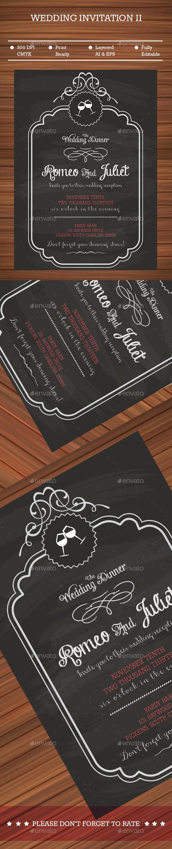 Black Wedding Invitation - Cards & Invites Print Templates