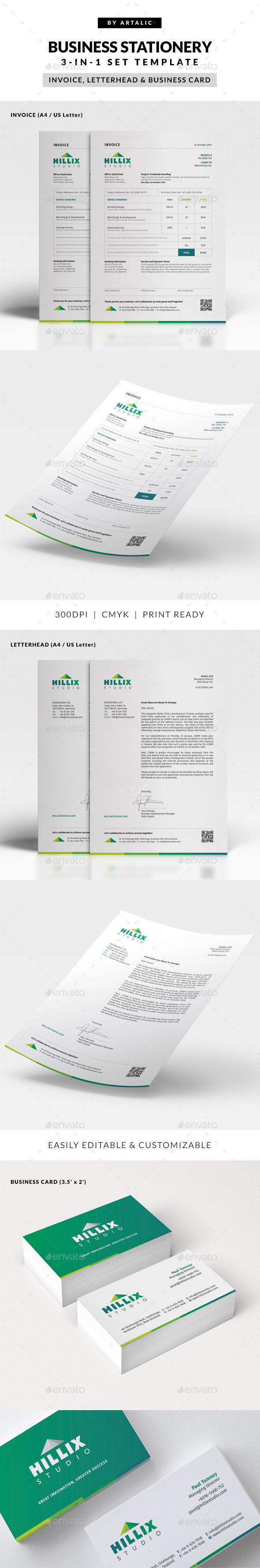 Invoice, Letterhead & Business Card Set - Stationery Print Templates