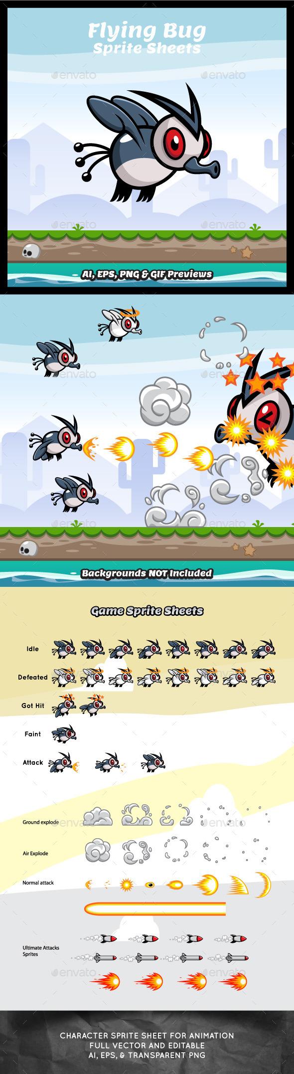 Flying Bug Game Character Sprite Sheets - Sprites Game Assets