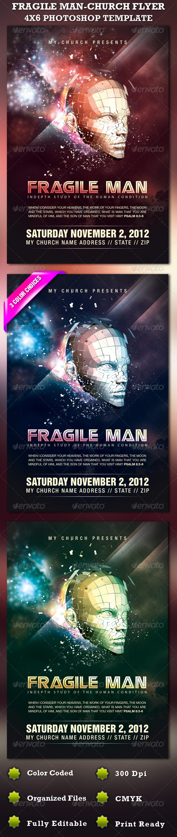 Fragile Man-Church Flyer Template - Church Flyers